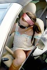 Upskirt in spear Britney car